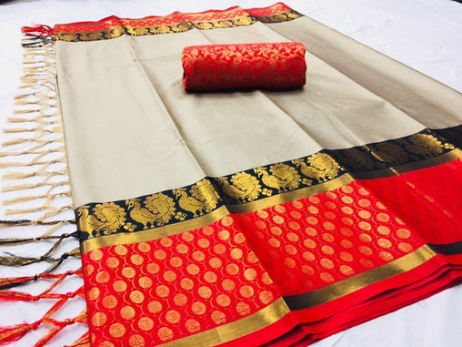 red & white COLOR SOFT SILK DESIGNER SAREE WS-4061