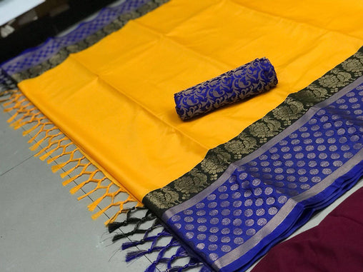 blue & yellow  COLOR SOFT SILK DESIGNER SAREE WS-4062