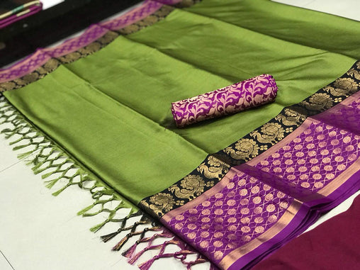 greeen & purple  COLOR SOFT SILK DESIGNER SAREE WS-4064