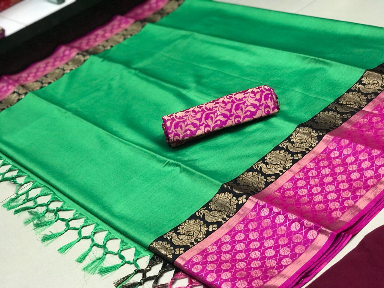 pink & green COLOR SOFT SILK DESIGNER SAREE WS-4066