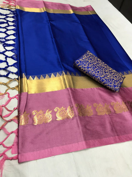 BLUE&PEACH COLOUR POLLY SILK DESIGNER SAREE ws-2028