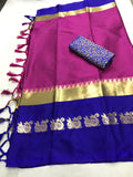 PINK&BLUE COLOUR POLLY SILK DESIGNER SAREE ws-4029