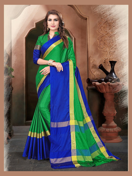 Green And Blue Color Silk Saree