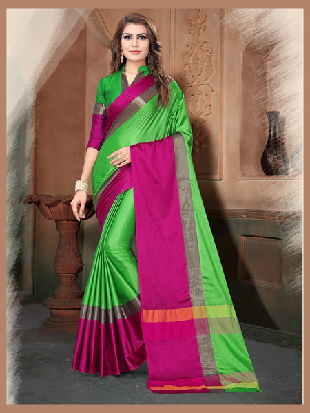 Green And Pink Color Silk Saree