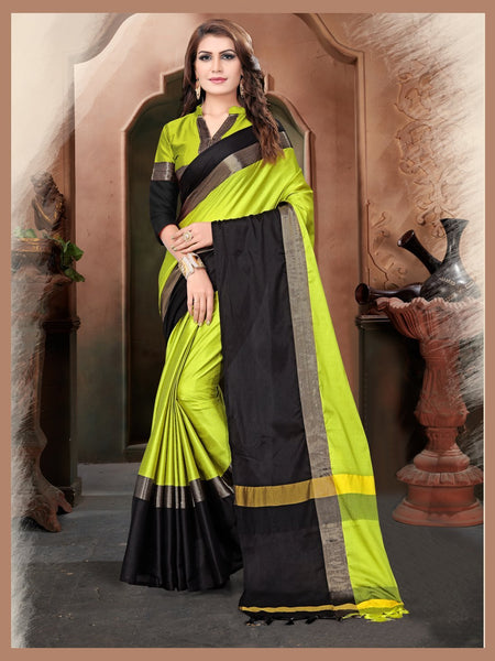 Lemon And Black Color Silk Saree