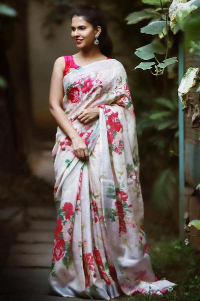 LINEN WHITE COLOR FLOWER DESIGNER DIGITAL PRINT SAREE WS-7056