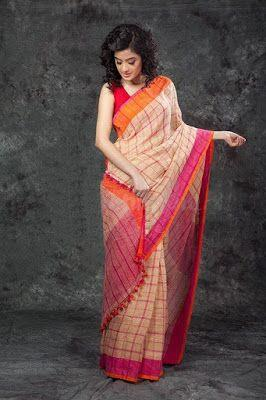 PURE LINEN PINK COLOR CHECKS DESIGNER DIGITAL PRINT SAREE WS-7058