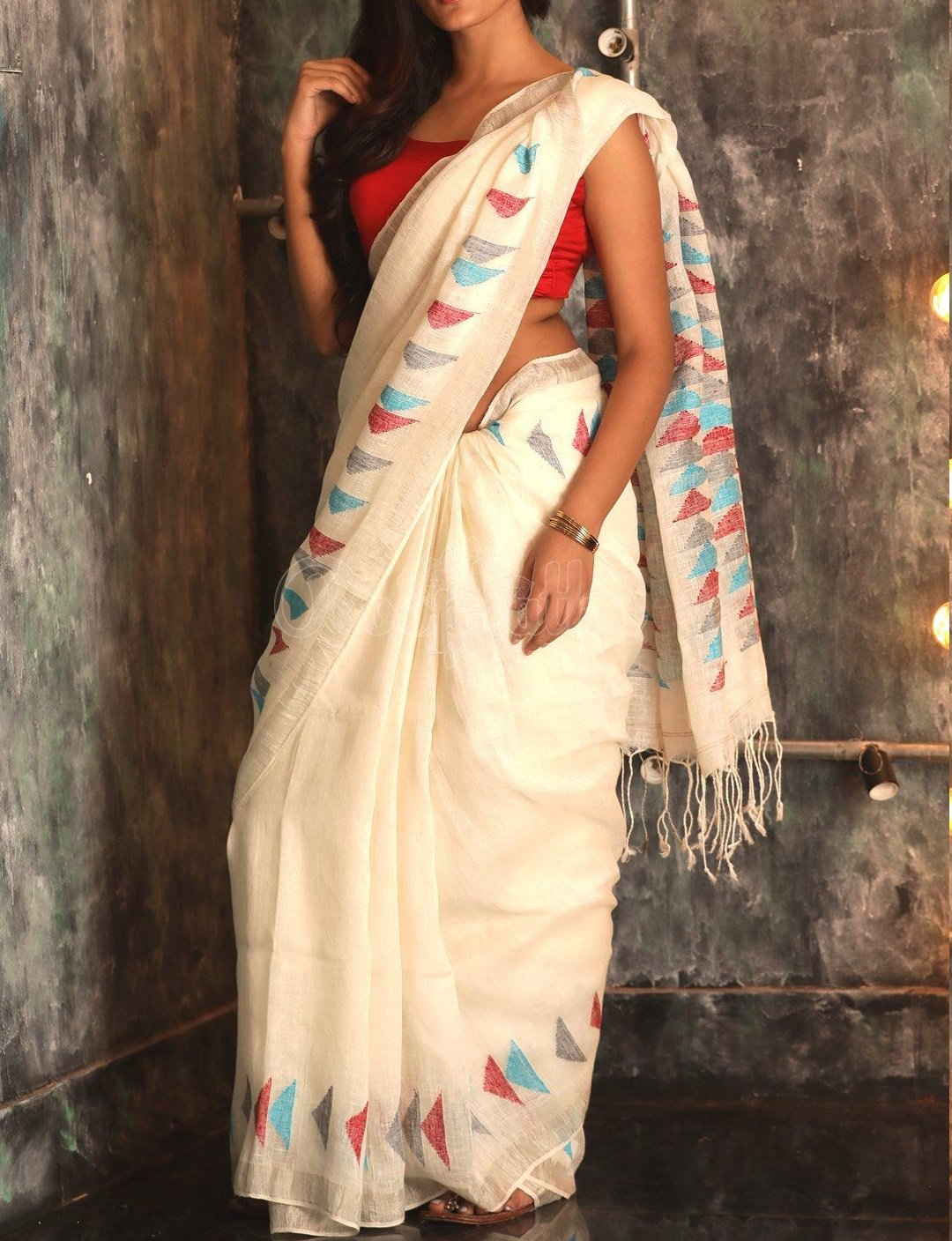 LINEN WHITE COLOR DESIGNER DIGITAL PRINT SAREE WS-7063