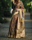 LINEN MULTI COLOR DESIGNER DIGITAL PRINT SAREE WS-7018