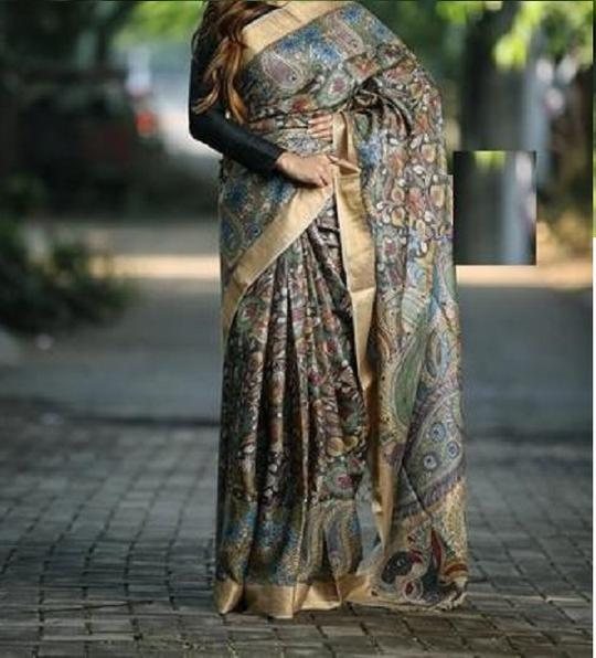 LINEN MULTI COLOR DESIGNER DIGITAL PRINT SAREE WS-7019