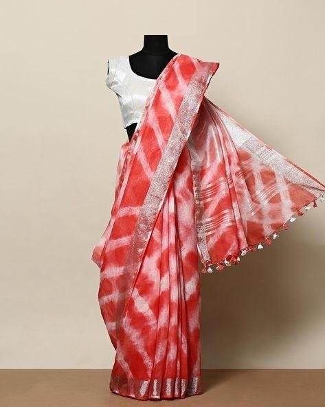 LINEN RED WHITE DESIGNER DIGITAL PRINT SAREE WS-7029