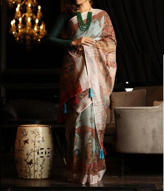 LINEN MULTI COLOR DESIGNER DIGITAL PRINT SAREE WS-7033