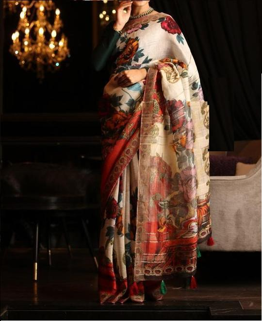 LINEN MULTI COLOR DESIGNER DIGITAL PRINT SAREE WS-7034