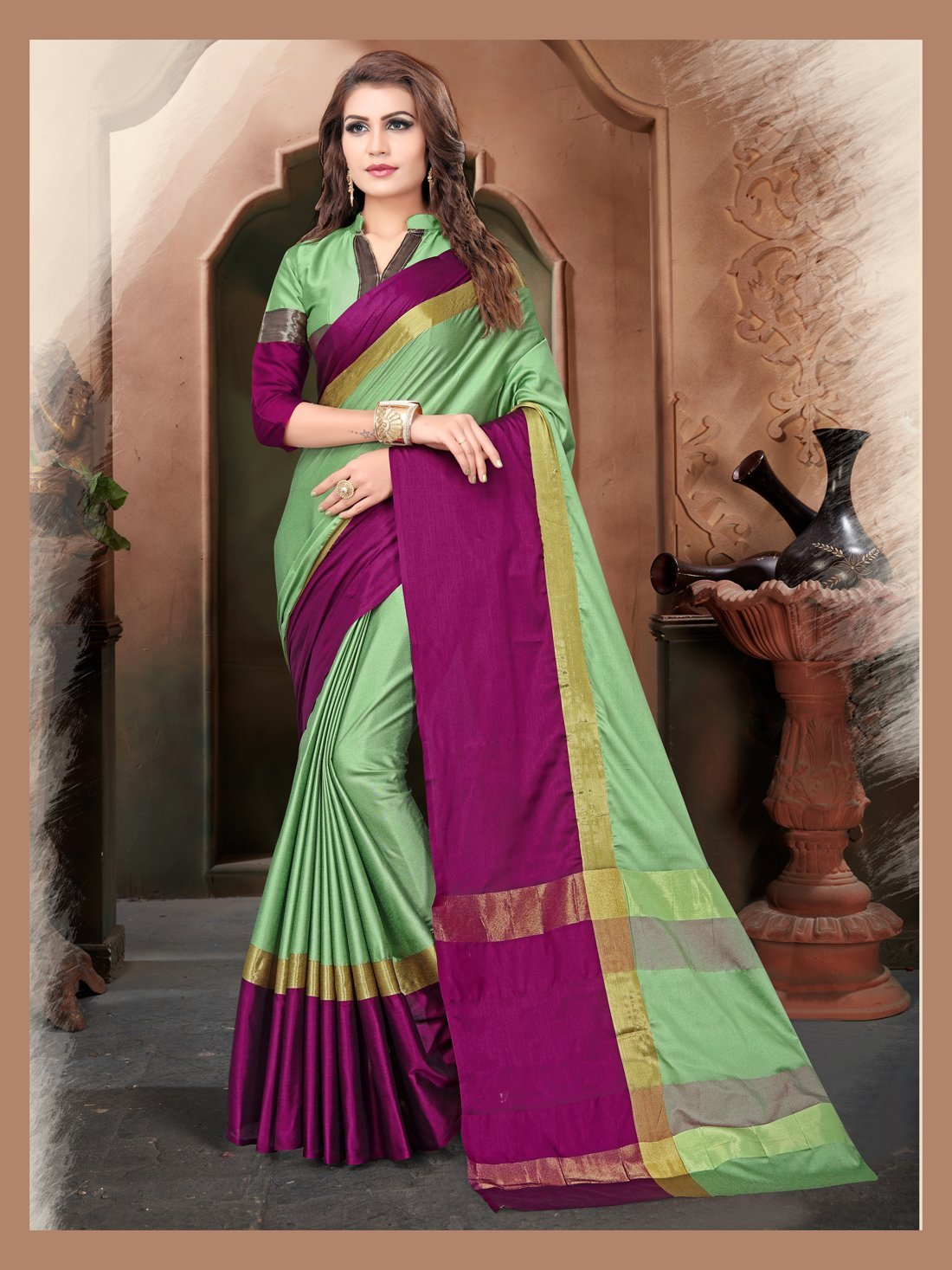 Pista And Wine Color Silk Saree