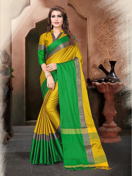 Yellow And Green Color Silk Saree