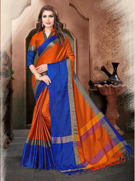 Orange And Blue Color Silk Saree
