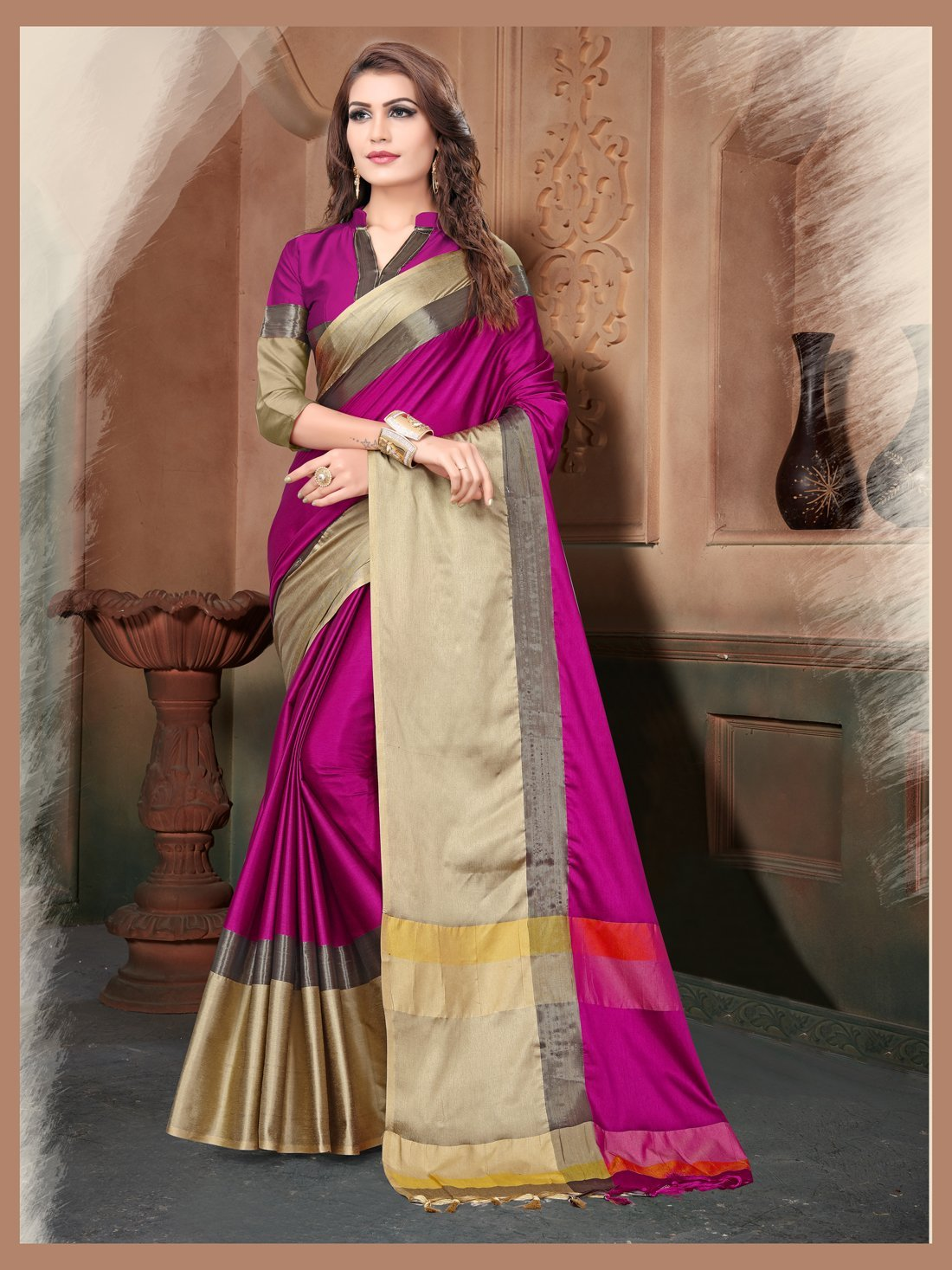 Pink And Gold Color Silk Saree