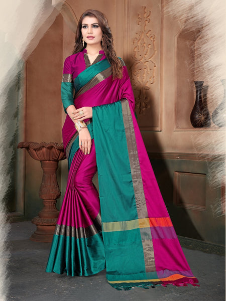 Pink And Rama Color Silk Saree