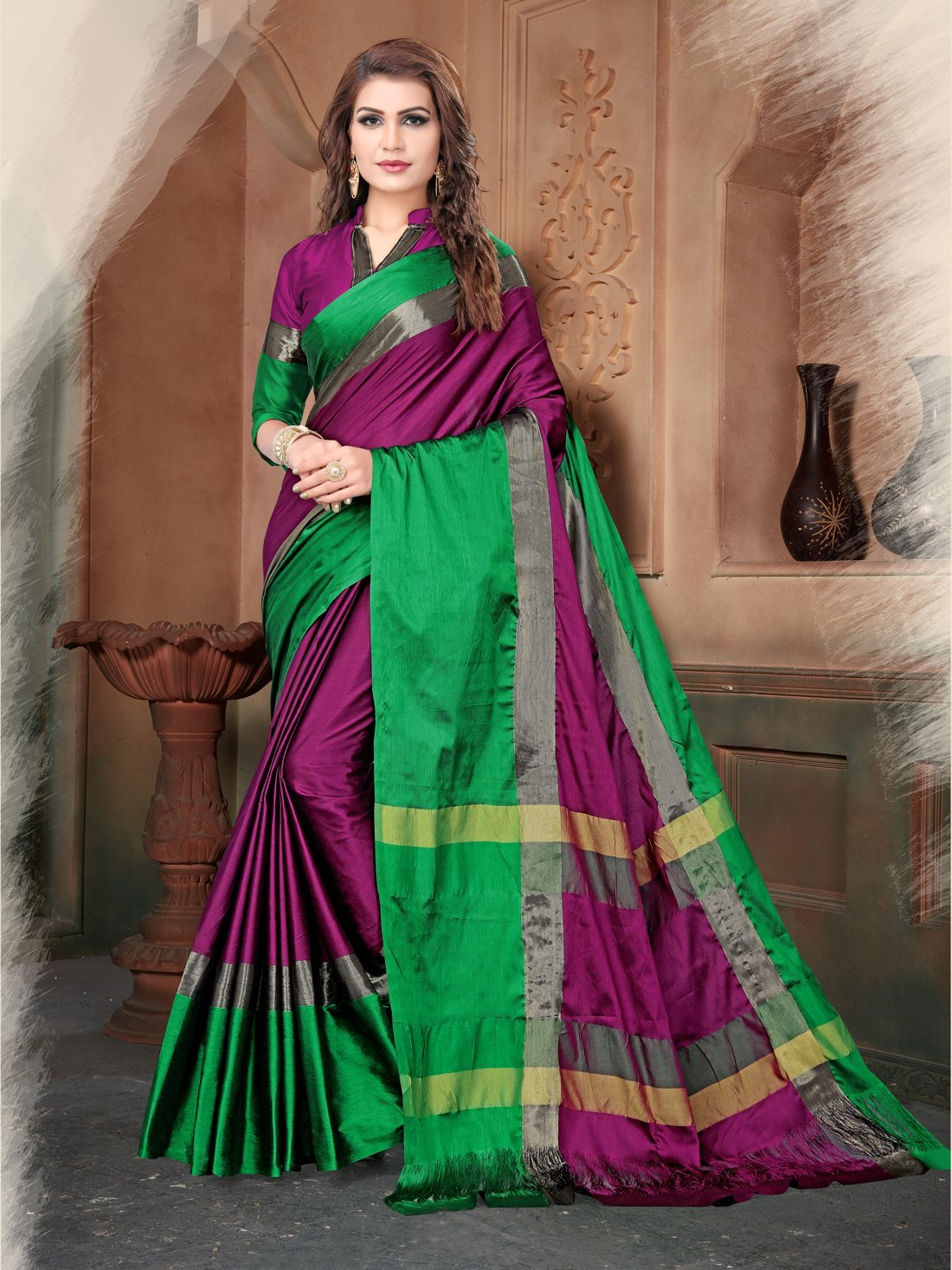 Wine And Green Color Silk Saree
