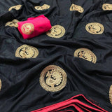 BLACK COLOR DESIGNER PARTY WEAR SANA SILK EMBROIDERY WORK SAREE WS 4054