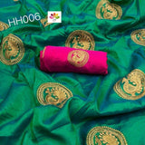 C-GREEN COLOR DESIGNER PARTY WEAR SANA SILK EMBROIDERY WORK SAREE WS 4055