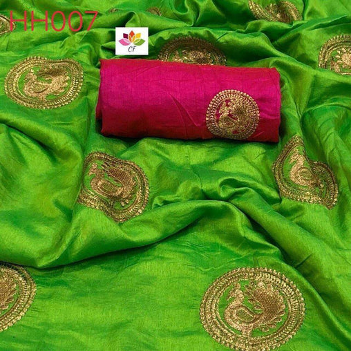 GREEN COLOR DESIGNER PARTY WEAR SANA SILK EMBROIDERY WORK SAREE 4056