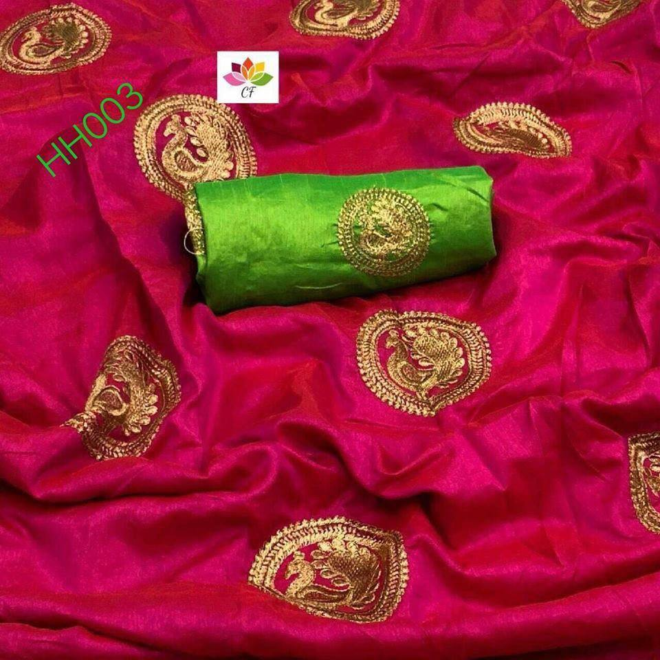 PINK COLOR DESIGNER PARTY WEAR SANA SILK EMBROIDERY WORK SAREE WS4058