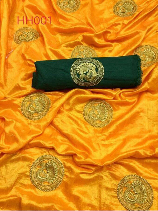 YELLOW COLOR DESIGNER PARTY WEAR SANA SILK EMBROIDERY WORK SAREE WS 4059
