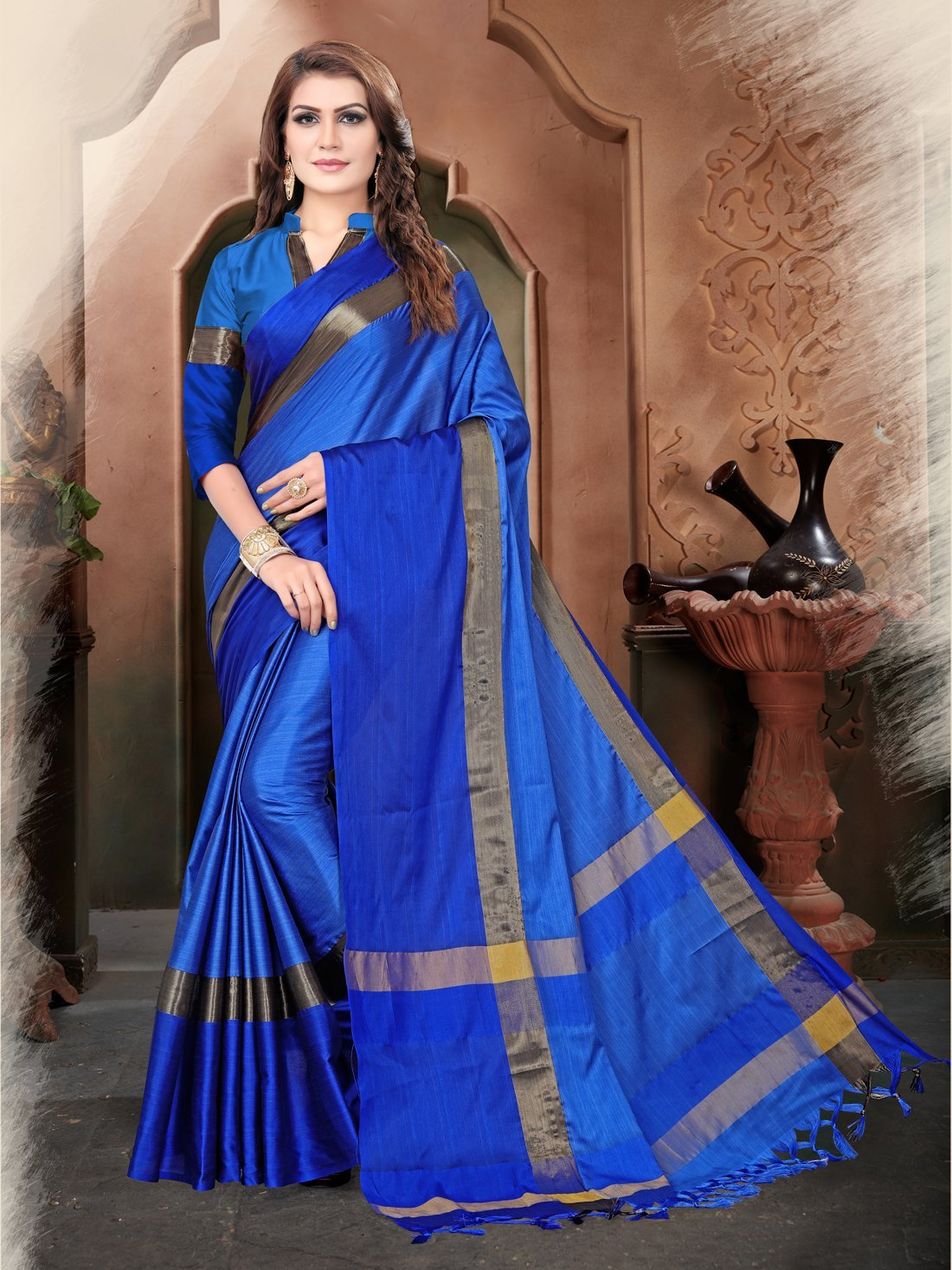 Royal Blue And Blue Color Silk Saree