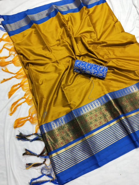 YELLOW & BLUE COLOUR SOFT SILK DESIGNER SAREE WS 4070