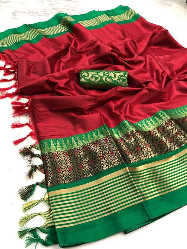 RED & GREEN COLOUR SOFT SILK DESIGNER SAREE ws 4074