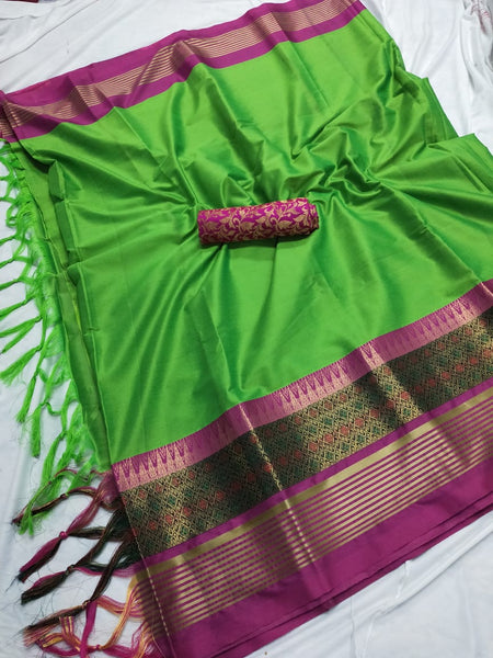 GREEN & PINK COLOUR SOFT SILK DESIGNER SAREE WS 4072