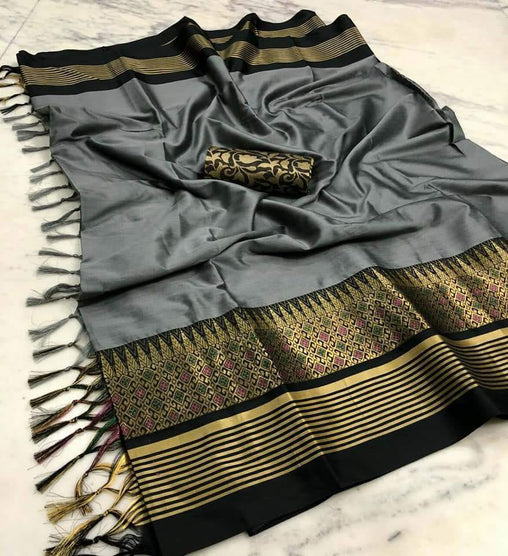 GREY & BLACK COLOUR SOFT SILK DESIGNER SAREE WS 4075