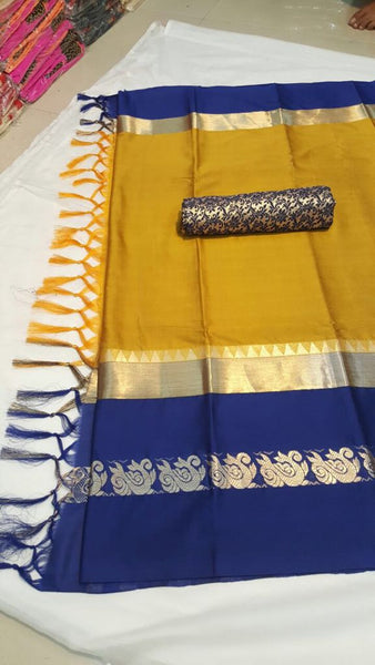 YELLOW&BLUE COLOUR POLLY SILK DESIGNER SAREE ws-4035