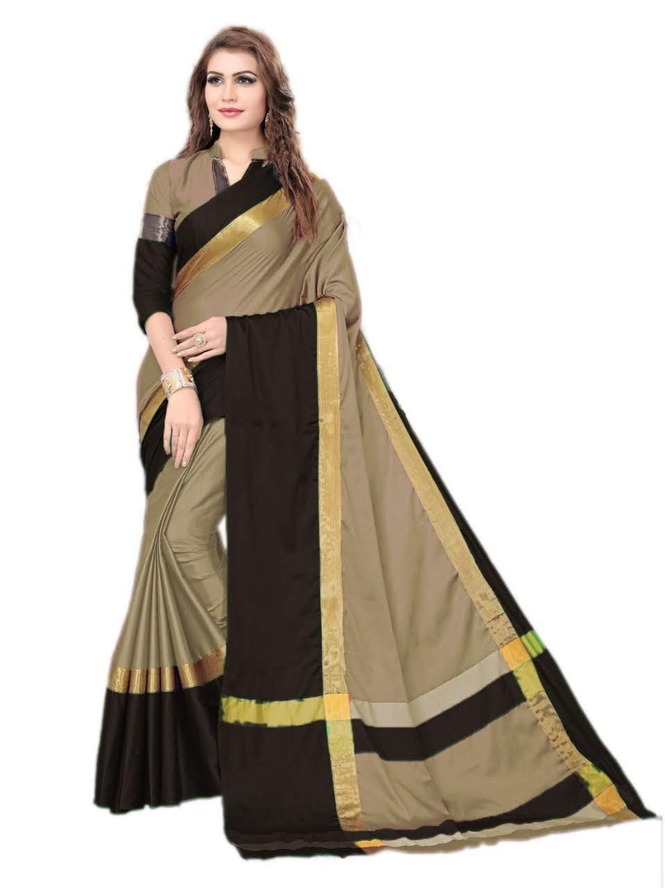 Gold And Black Color Silk Saree
