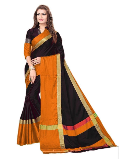 Black And orange Color Silk Saree