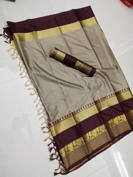 Ideal Beige and Black Color Soft Silk Designer Saree ws-4046