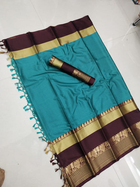 Captivating Blue and Brown Color Soft Silk Designer Saree ws-4047