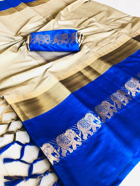 Beige&Blue Color Fancy Soft Silk Designer Saree ws-4040