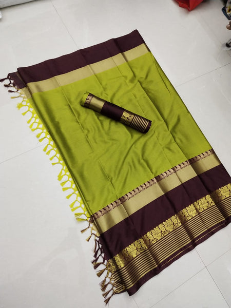 Fabulous Green and Gold Color Soft Silk Designer Saree ws-4048