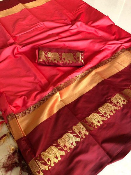 Red&Wine Color Fancy Soft Silk Designer Saree ws-4041