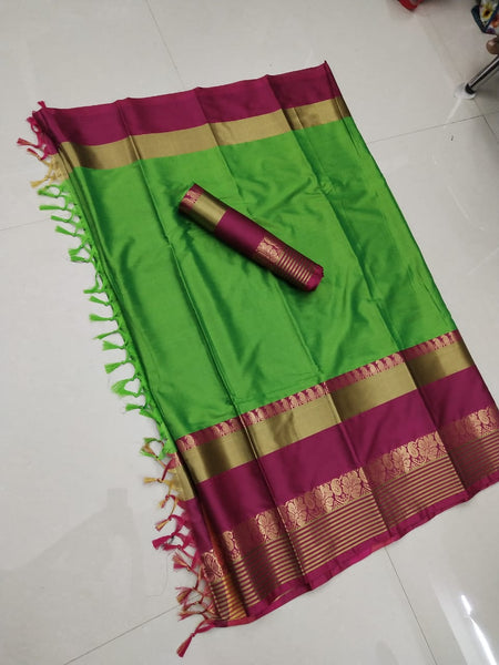 Elegance Key Green Color Soft Silk Designer Saree  ws-4050