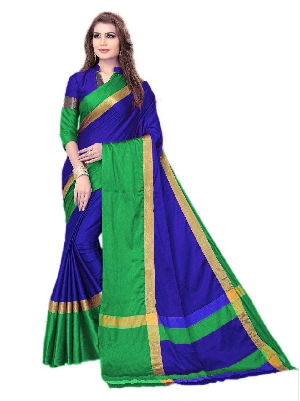 Blue And Green Color Silk Saree