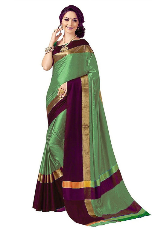 Pista And Wine Color Poly Cotton Saree