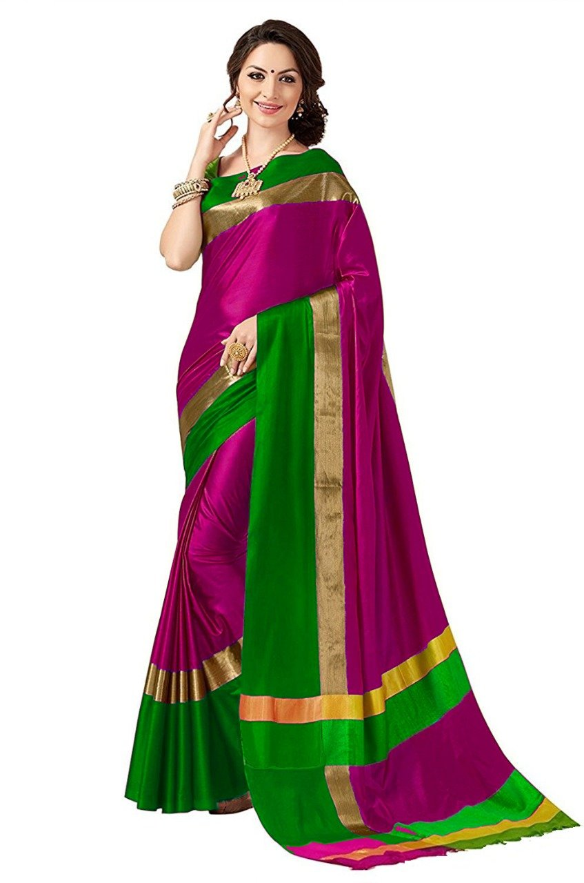 Pink And Green Color Poly Cotton Saree