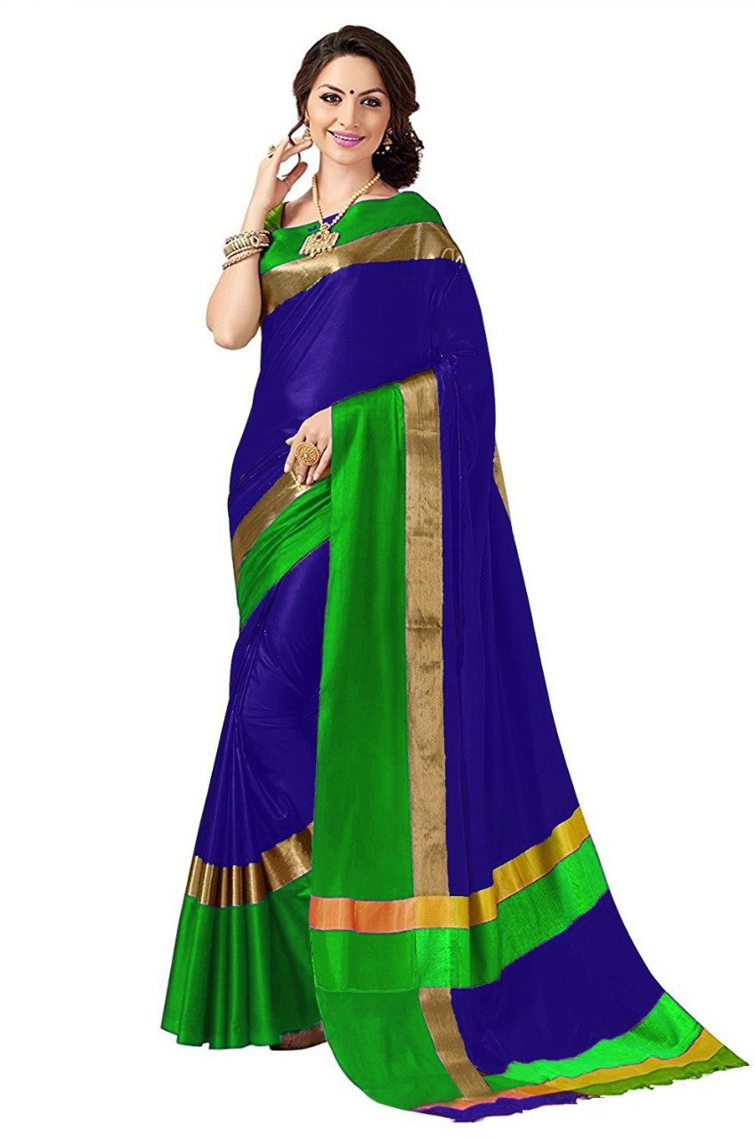 Blue And Green Color Poly Cotton Saree