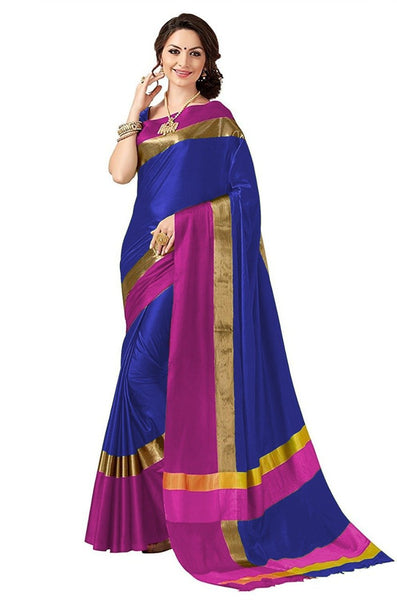 Blue And Pink Color poly Cotton Saree