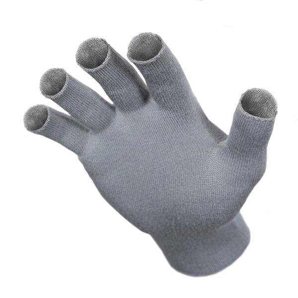 Just Silver Apparel - 12% Silver Fingerless Gloves - Platinum Grey