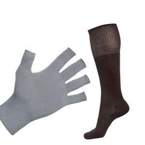Just Silver Apparel - 12% Fingerless Silver Gloves and 12% Long Silver Socks