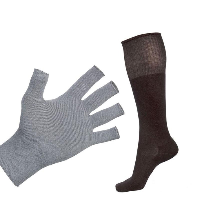 Bundle - Deluxe 12% Silver Sclero Fingerless Gloves and Black 12% Long Silver Socks